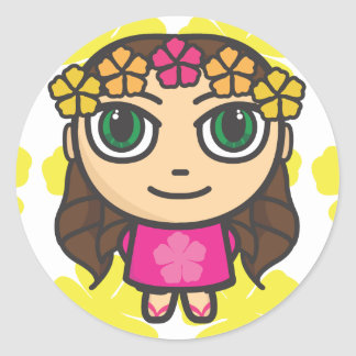 Hula Girl in Pink-Yellow Background Stickers
