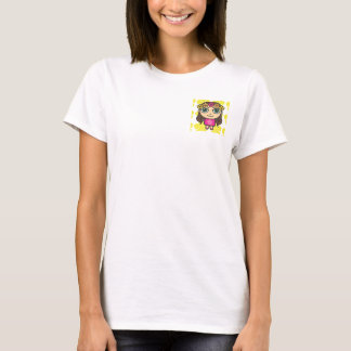 Hula Girl in Pink-Yellow Background Tee Shirt