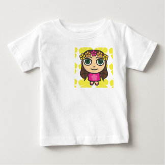 Hula Girl in Pink-Yellow Background Tee Shirt