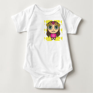 Hula Girl in Pink-Yellow Background Vest Baby Bodysuit
