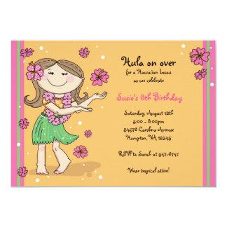 "Hula Girl Invitations: Brunette 5"" X 7"" Invitation Card"