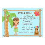 Hula Girl Luau Birthday Invitation
