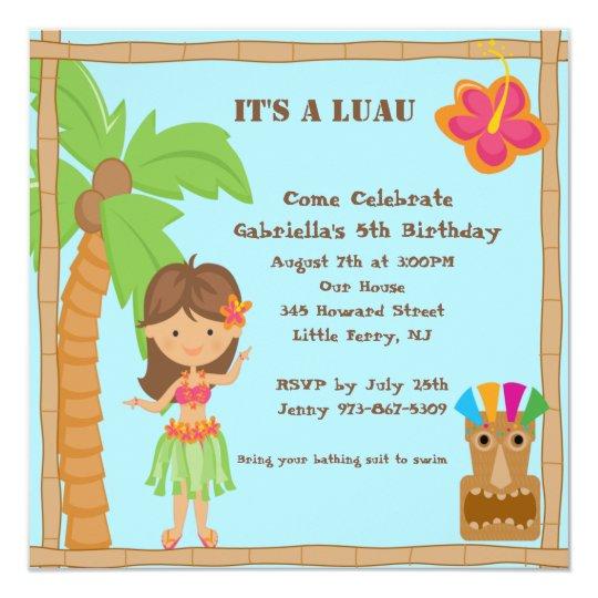 Hula Girl Luau Square Birthday Invitation