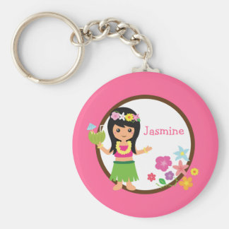Hula Girl Luau Themed Party Favors Basic Round Button Key Ring