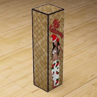 Hula Girl Mele Kalikimaka Christmas Wine Gift Box
