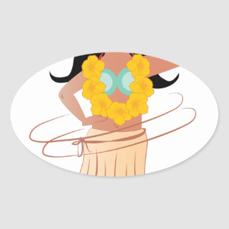 Hula Girl Oval Sticker