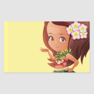 Hula girl rectangular sticker