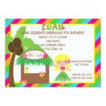 Hula Girl Tiki Hut Bright  Birthday Invitation 13 Cm X 18 Cm Invitation Card