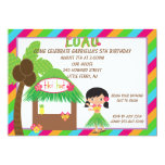 Hula Girl Tiki Hut Bright  Birthday Invitation