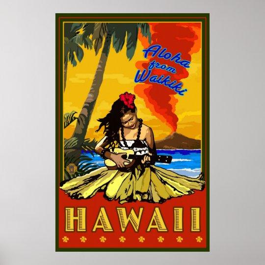 Hula Girl - Waikiki, Hawaii Diamond Head Poster