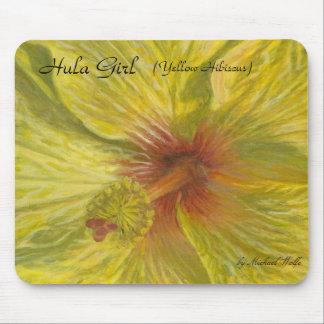 Hula Girl, (Yellow Hibiscus), by Mich... Mousepads