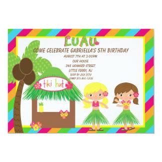 Hula Girls Tiki Hut Bright  Birthday Invitation