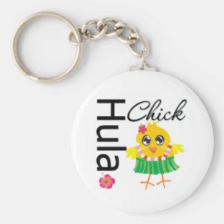 Hula Hawaii Chick Basic Round Button Key Ring