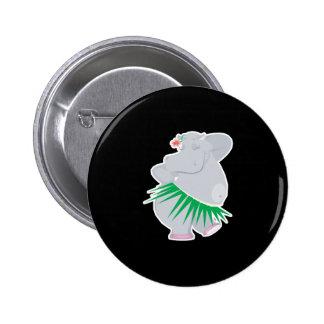 hula hippo 6 cm round badge