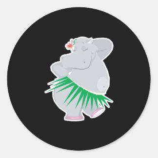 hula hippo round sticker