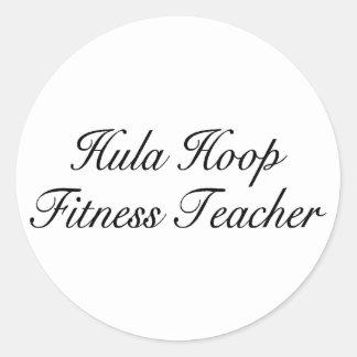 Hula Hoop Fitness Teacher Round Sticker