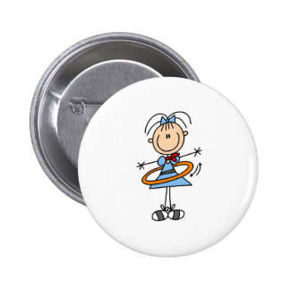 Hula Hoop Girl Button