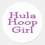 Hula Hoop Girl Classic Round Sticker