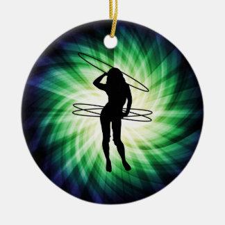 Hula Hoop Girl; Cool Round Ceramic Decoration