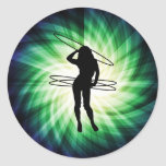 Hula Hoop Girl; Cool Round Stickers