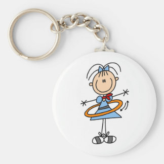 Hula Hoop Stick Figure T-shirts and Gifts Basic Round Button Key Ring
