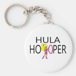 Hula Hooper Girl Basic Round Button Key Ring