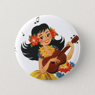 Hula Hula Girl 6 Cm Round Badge