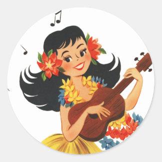 Hula Hula Girl Classic Round Sticker