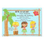 "Hula Kids Luau Birthday Invitation 5"" X 7"" Invitation Card"