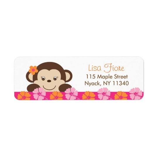 Hula Monkey Luau Baby Shower Address Labels