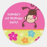 Hula Monkey Luau Bithday Party Favour Stickers