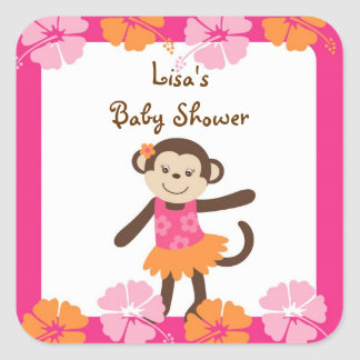 Hula Monkey Luau Envelope Seals Stickers