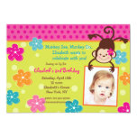 "Hula Monkey Luau Photo Birthday Party Invitations 5"" X 7"" Invitation Card"