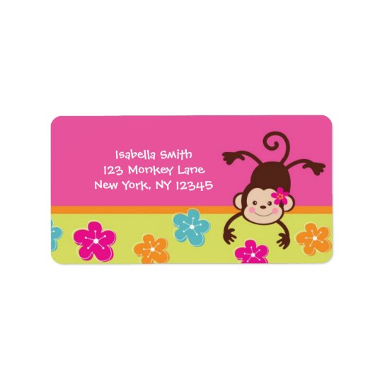 Hula Monkey Luau Return Address Labels