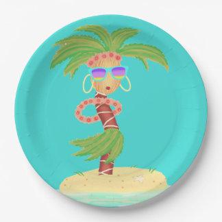 Hula Palm paper plate