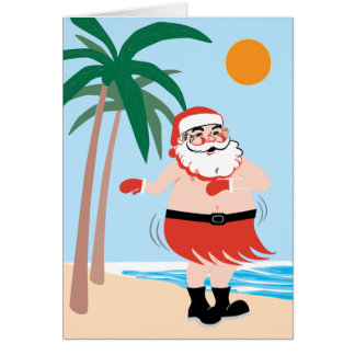 Hula Santa Note Card