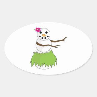 Hula Snowman Oval Sticker