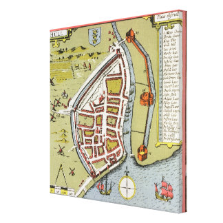 Hull, detail from map of North and East Ridings Canvas Print