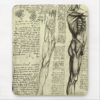 Human Anatomy Male Muscles by Leonardo da Vinci Mouse Pad