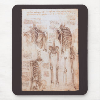 Human Anatomy Skeletons by Leonardo da Vinci Mouse Mat