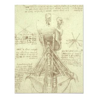 Human Anatomy Spinal Column by Leonardo da Vinci 11 Cm X 14 Cm Invitation Card