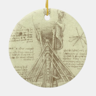 Human Anatomy Spinal Column by Leonardo da Vinci Round Ceramic Decoration