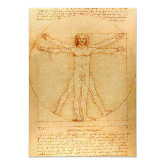 Human Anatomy, Vitruvian Man by Leonardo da Vinci 11 Cm X 16 Cm Invitation Card