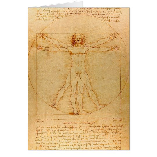 Human Anatomy, Vitruvian Man by Leonardo da Vinci Card