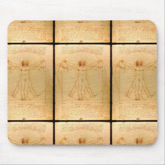 Human Anatomy, Vitruvian Man by Leonardo da Vinci Mouse Pad