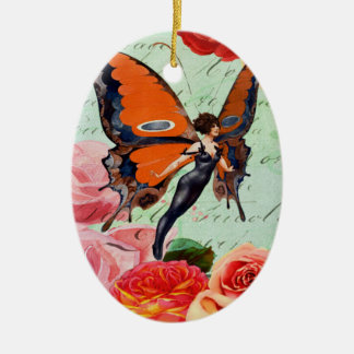 Human-Animal Hybrid Butterfly Woman with Roses Ceramic Oval Decoration