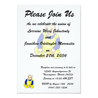 human baby chick blue sleeves.png 13 cm x 18 cm invitation card