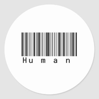 Human Barcode Really Scans! Round Sticker
