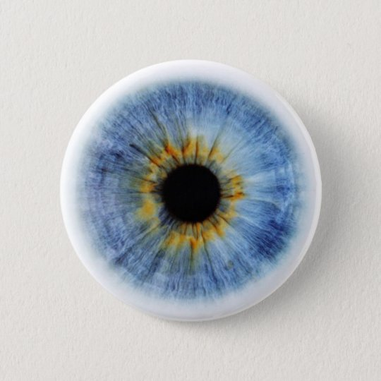 Human blue eyeball 6 cm round badge