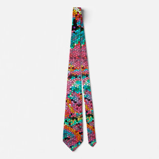 HUMAN BONE CELL STAINED GLASS ART TIE